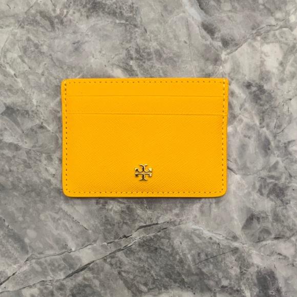 Tory Burch Robinson Stripe Leather Card Case Key Fob Chain Wallet ~NWT $98~